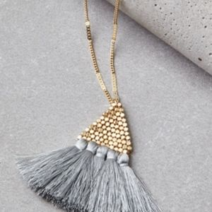 American Eagle Gold with Gray Tassel Necklace